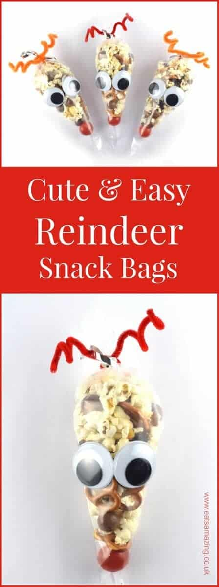 Snack Ideas For Christmas Party Part - 39: Easy Reindeer Snack Bags Recipe And Tutorial - A Fun Christmas Party Food  Idea For Kids