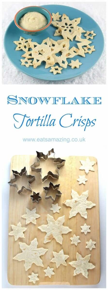 Easy snowflake tortilla crisps recipe - a fun healthy snack or Christmas party food idea for kids from Eats Amazing UK #Christmas #christmasfood #funfood #foodart #snow #snowflake #tortilla #kidsfood #winter #partyfood #festive