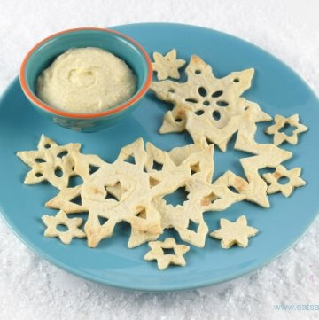 Easy snowflake tortilla crisps recipe - a fun healthy snack or party food idea for Christmas from Eats Amazing UK