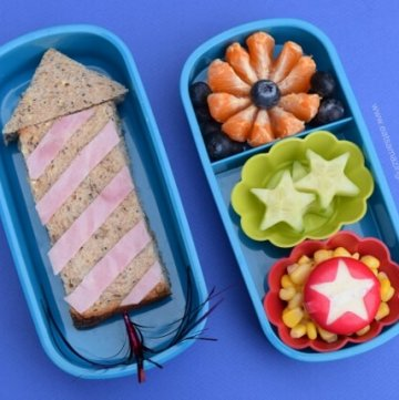 Fireworks themed bento lunch with rocket sandwich - healthy and fun food for kids from Eats Amazing UK - great for bonfire night
