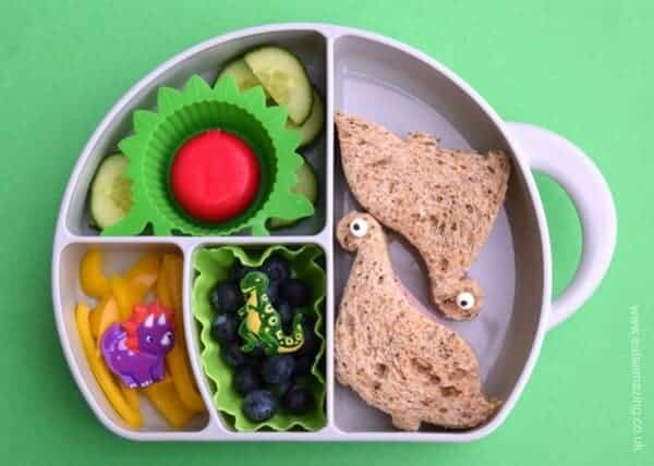 Fun Dinosaur bento lunch idea for kids from Eats Amazing UK - Fun food served in the boon trunk snack box