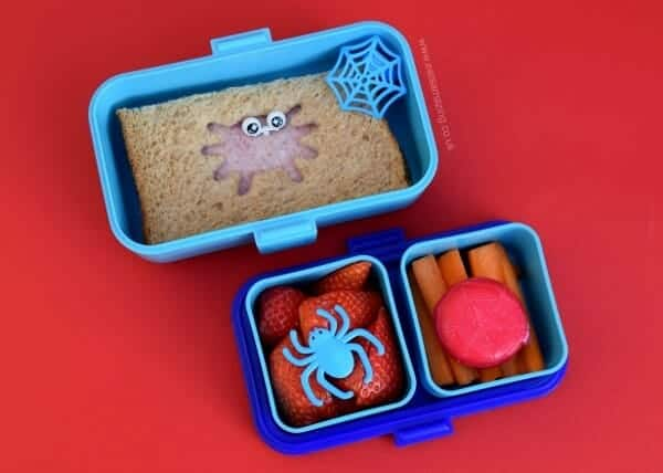 Fun and easy spider bento lunch for kids in the Monbento Tresor bento box - great for Halloween - Eats Amazing UK