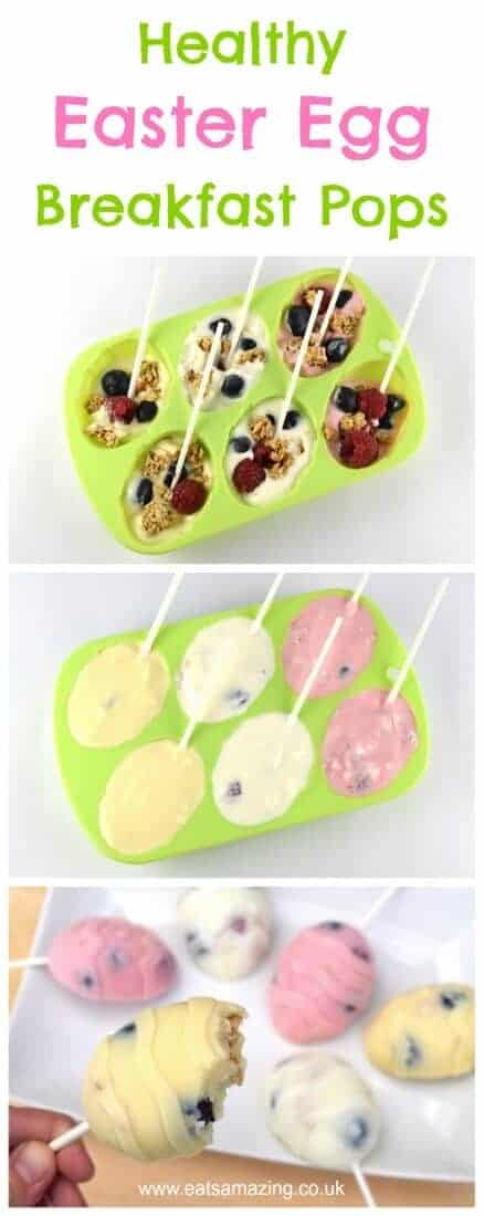 Fun and healthy Easter Breakfast Pops recipe - cute and delicious alternative to chocolate treats for kids this Easter #easter #easterfood #easterrecipe #kidsfood #healthykids #funfood #breakfastrecipes #popsicles #easyrecipe #cookingwithkids #eastereggs