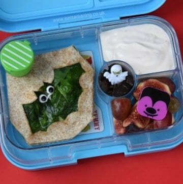 Fun bat themed lunch with a spinach quesadilla for Halloween - packed in the Yumbox Panino bento box from Eats Amazing UK