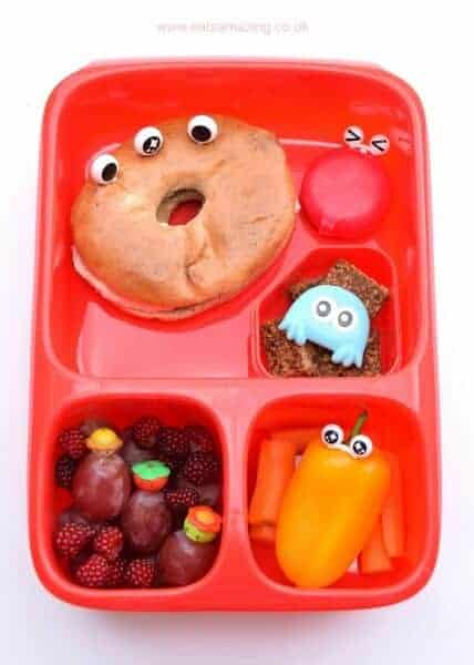 Fun bento lunch in the Goodbyn Hero compartmented lunch box from Eats Amazing UK with Goodbyen lunch box review