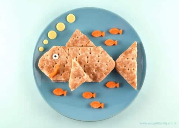 Fun fish food art plate for kids with Hovis Good Inside Sandwich Thins from Eats Amazing UK