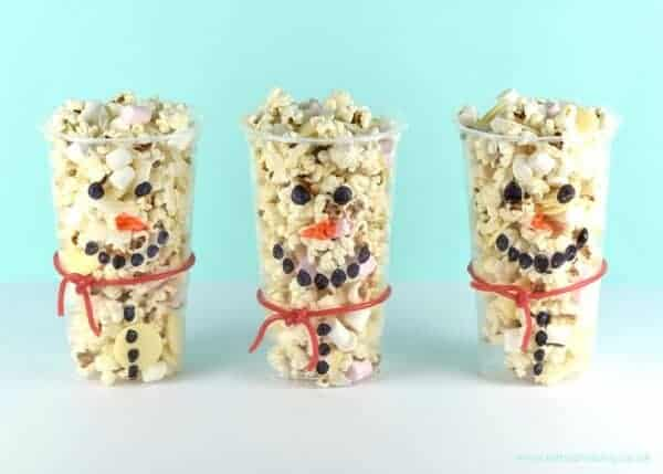 Fun food for kids - Snowman snack cups recipe - great for winter or frozen themed party food