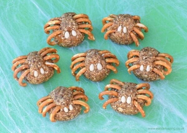 Fun nut free and dairy free spider energy balls recipe for kids - great for Halloween party food