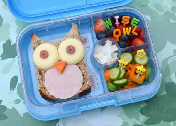 Fun owl bento lunch in the Yumbox Panino from Eats Amazing UK - healthy fun food for kids