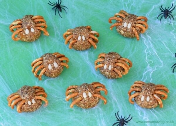 Spooky spider energy balls recipe eats amazing for Halloween party food ideas for kids