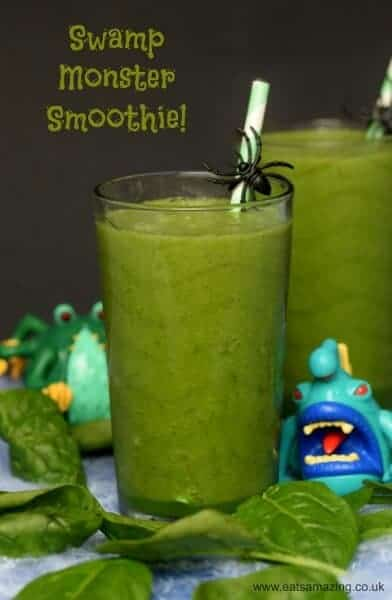 Healthy green smoothie recipe for kids with hidden vegetables - a fun drink idea for Halloween from Eats Amazing UK