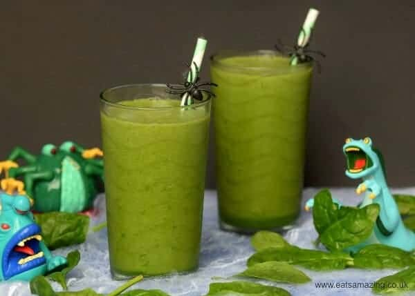 Healthy green smoothie recipe for kids with hidden vegetables - such a fun drink idea for Halloween
