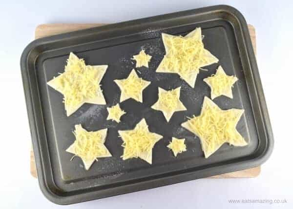 How to make cheese puff pastry Christmas Trees with star cutters - Eats Amazing