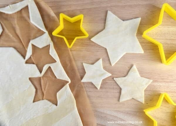 How to make puff pastry Christmas Trees with star cutters