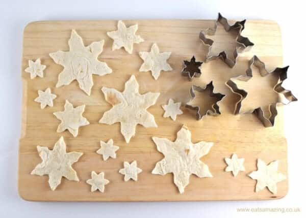 How to make snowflake tortilla crisps - a fun healthy snack or cute Christmas party food idea from Eats Amazing UK