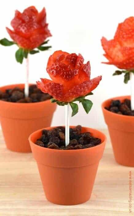 How to make strawberry roses with video tutorial - these are so easy to make and are perfect for valentines day - cute snack idea for kids