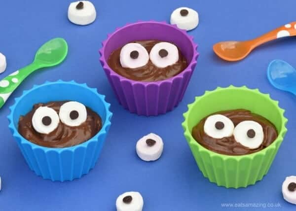 Monster Chocolate Avocado Pudding Pots recipe - fun and healthy dessert idea - great for childrens Halloween party food - from Eats Amazing UK