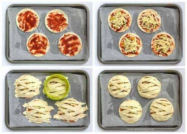 Mummy Puff Pastry Pizza Pies - fun Halloween food idea for kids from Eats Amazing UK