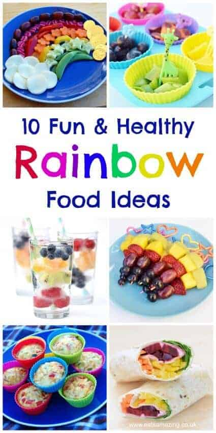 My top 10 favourite healthy rainbow food ideas - all made from natural fruit and vegetables with no food colours - great for fun party food or a special occasion