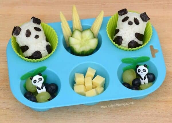 Panda themed muffin tin meal with baby panda rice balls - cute food for kids from Eats Amazing UK