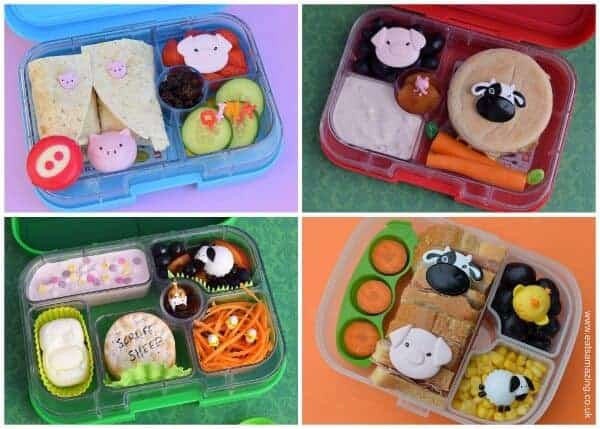 Quick and easy farm themed school lunch ideas for kids from Eats Amazing UK - making healthy food fun - made in the Yumbox and Munchkin bento boxes