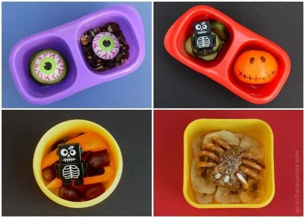 Quick and easy healthy snack ideas for kids with a fun Halloween theme for October