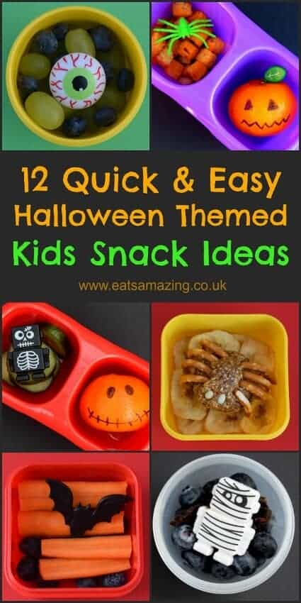 Quick and easy healthy snack ideas for kids with fun Halloween themed food for October - great for after school snacks from Eats Amazing UK