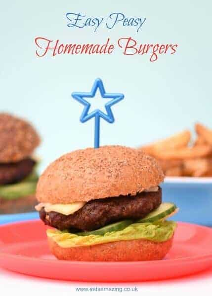 Really easy homemade burgers recipe - so easy a young child can make them - with free kid friendly printable recipe sheet from Eats Amazing UK