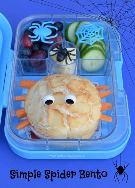 Really easy kids spider bento lunch for Halloween - a fun and healthy lunch box idea packed in the Yumbox panino from Eats Amazing UK