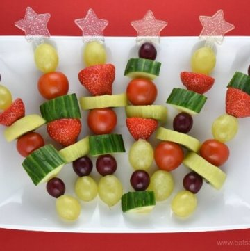 Red and Green Fruit and Veg Skewers - Fun Christmas snack or healthy party food idea for kids