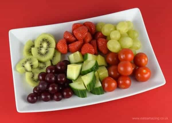 Red and Green Fruit and Veg Skewers - Fun Christmas snack or healthy party food idea from Eats Amazing UK