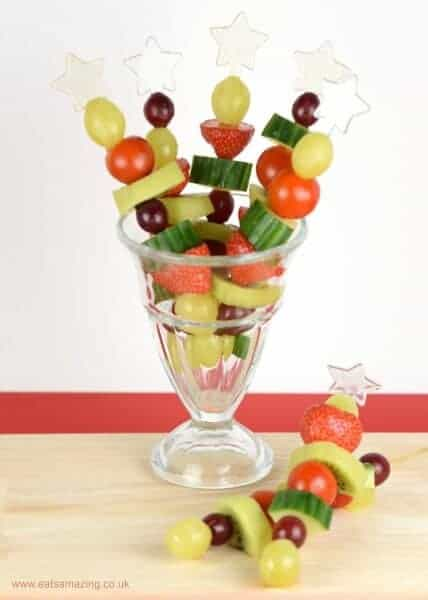 Red and Green Fruit and Veg Skewers recipe - Fun Christmas snack or healthy party food idea from Eats Amazing UK