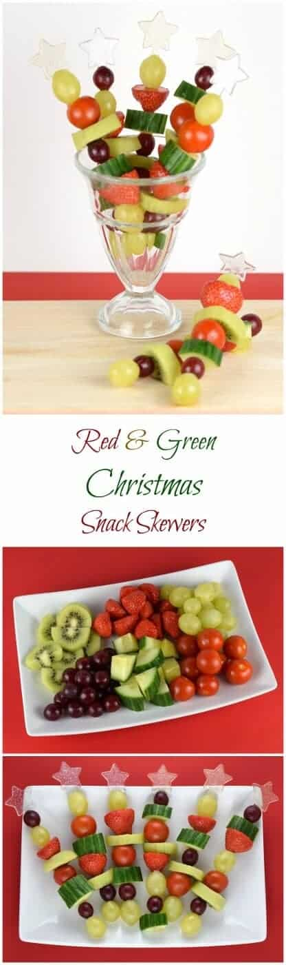 Red and Green Fruit and Vegetable Skewers recipe - fun Christmas snack or healthy party food idea for kids from Eats Amazing UK