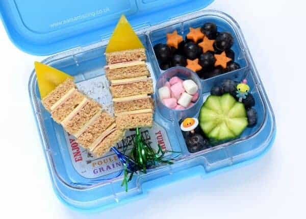 Rocket sandwich skewers for lunch in the Yumbox bento box from Eats Amazing UK - fun space and fireworks themed kids school lunch idea - great for bonfire night