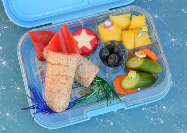 Rocket wraps for lunch in the Yumbox bento box from Eats Amazing UK - fun space and fireworks themed kids school lunch idea