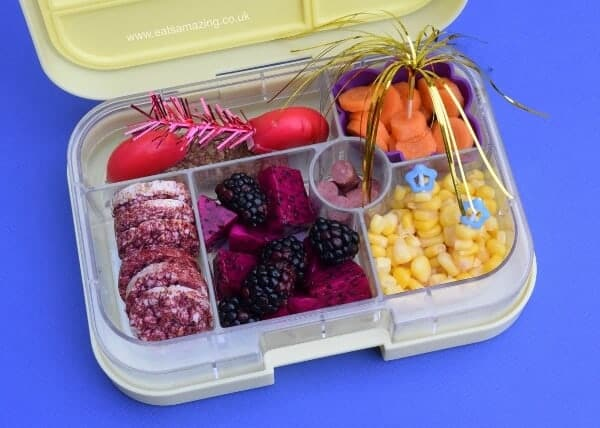 Simple fireworks themed bento lunch packed in the Yumbox from Eats Amazing UK - making healthy food fun for kids
