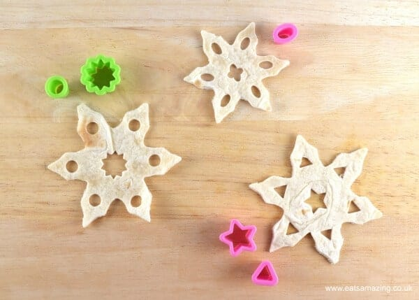 Snowflake tortilla crisps recipe - a fun healthy snack or party food idea for Christmas from Eats Amazing UK