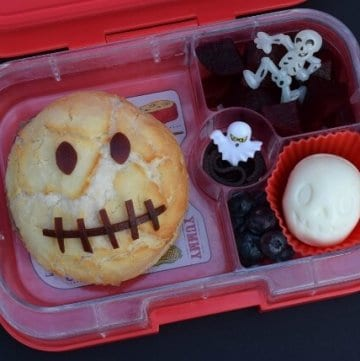 Spooky Skull Kids Bento Lunch for Halloween in the Yumbox Panino - from Eats Amazing UK