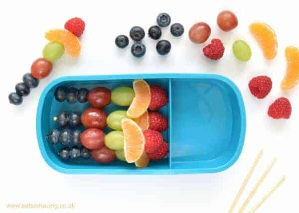 Step by step simple and healthy rainbow bento lunch idea for kids with rainbow fruit skewers from Eats Amazing UK