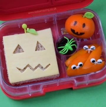 Super Simple pumpkin sandwich Halloween bento lunch for kids in the Yumbox Panino bento box - from Eats Amazing UK