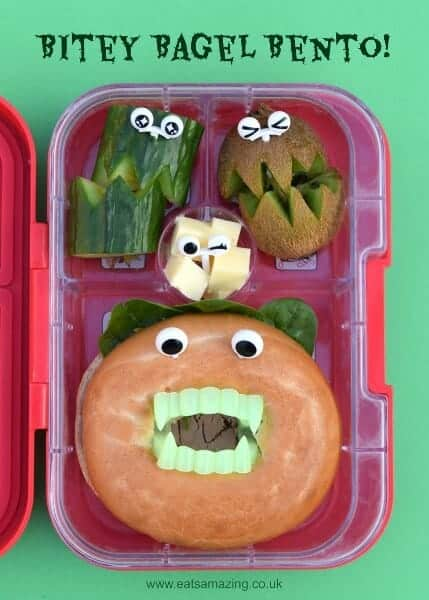 Super easy Halloween bento lunch for kids - less than 5 minutes to make and so much fun - Eats Amazing UK