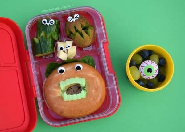 Super easy Halloween bento lunch for kids with bagel monster - less than 5 minutes to make and so much fun - Eats Amazing UK