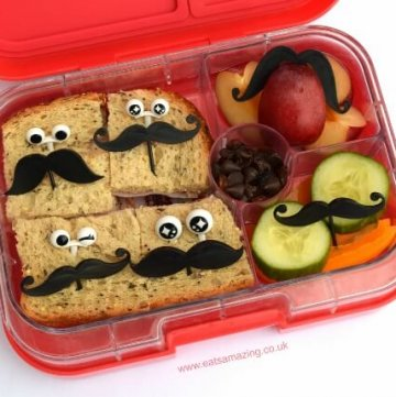 Super simple fun bento lunch idea with mustache food picks and googly eye bento picks - easy fun food that kids will love