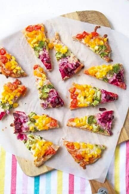 Top 10 Healthy rainbow food ideas - rainbow pitta pizza from Feeding Finn
