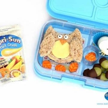 Woodland themed bento lunch in the Yumbox Panino – fun and healthy kids lunch idea for a special occasion from Eats Amazing UK and Capri-Fun Fruit Crush