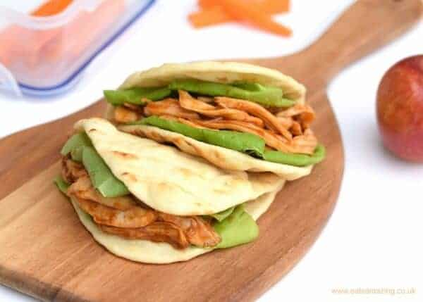 Yummy BBQ Pulled Chicken Flatbread recipe - perfect to pack for lunch for kids and adults too - from Eats Amazing UK